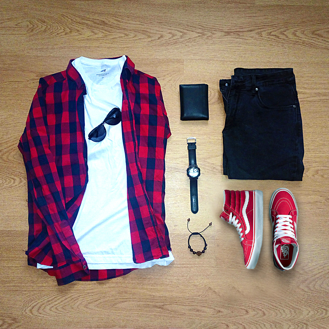 Red Vans Sneakers U0026 Red Woven Shirt - Perfect Match - FrenzyStyle