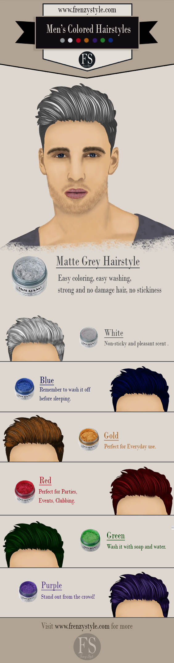 7 Colors for men's hairstyles & used products to make them
