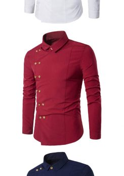 Double Breasted Slim Fit Long Sleeve Shirts for Stylish Men